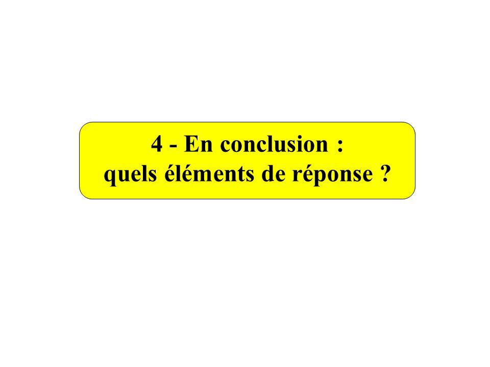 4 - En conclusion : quels éléments de réponse