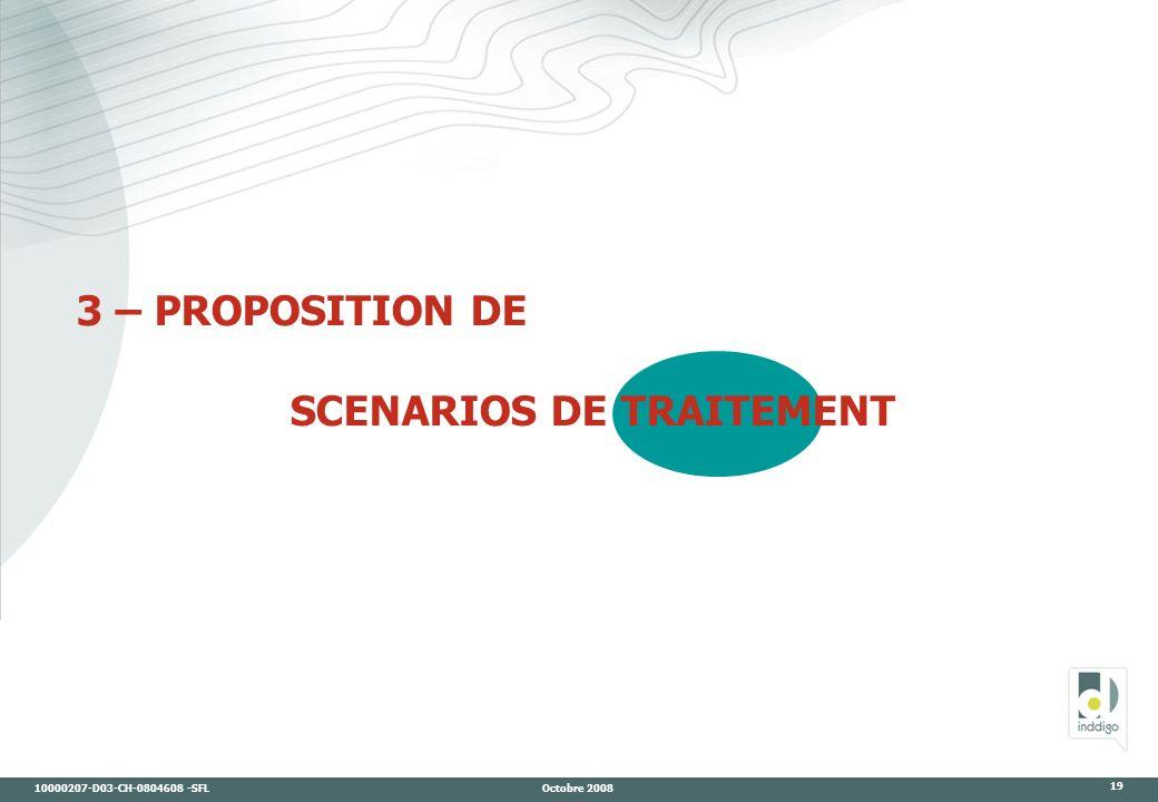 10000207-D03-CH-0804608 -SFL Octobre 2008 19 3 – PROPOSITION DE SCENARIOS DE TRAITEMENT