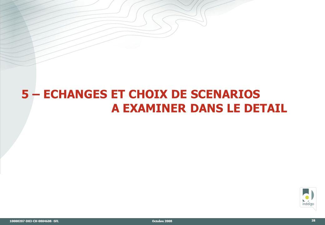 10000207-D03-CH-0804608 -SFL Octobre 2008 28 5 – ECHANGES ET CHOIX DE SCENARIOS A EXAMINER DANS LE DETAIL