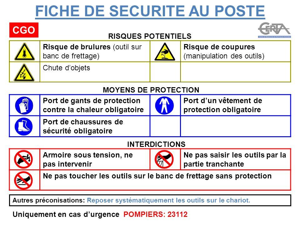 FICHE DE SECURITE AU POSTE CGO RISQUES POTENTIELS MOYENS DE PROTECTION INTERDICTIONS Port de gants de protection contre la chaleur obligatoire Port du
