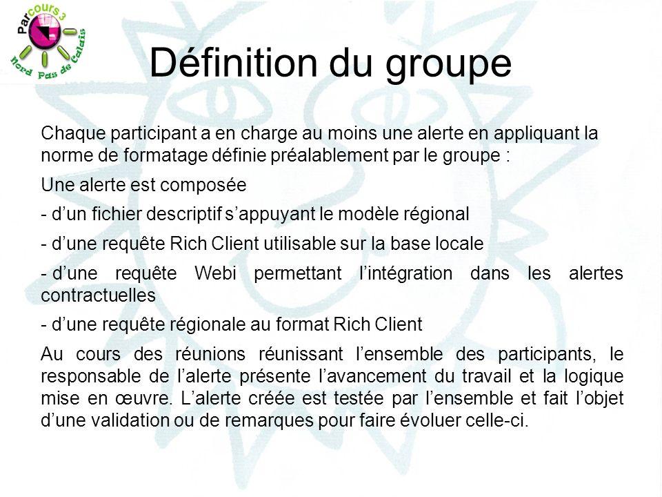 Définition du groupe Chaque participant a en charge au moins une alerte en appliquant la norme de formatage définie préalablement par le groupe : Une