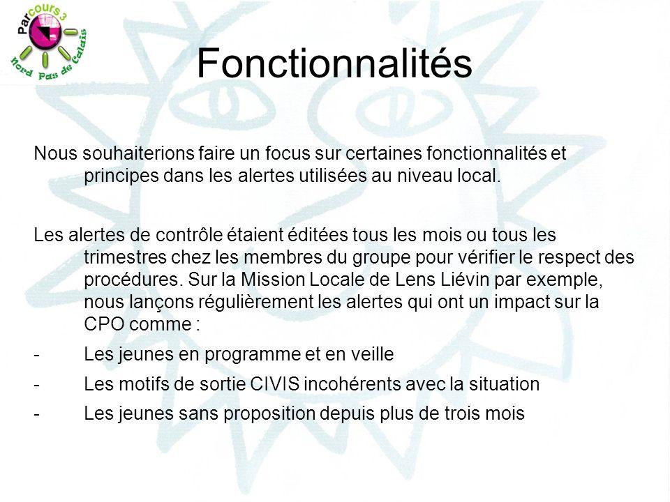 Pour la Mission Locale de Flandre Intérieure, les conseillers reçoivent, chaque mois, par courriel, 3 alertes issues de la planification de requêtes BO dont : -La gestion du portefeuille CIVIS -Les propositions en cours (PRF, Emploi et Autre) et un regard sur les situations en cours ou non.