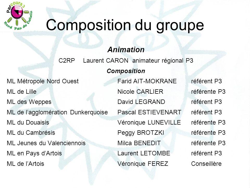 Composition du groupe Animation C2RPLaurent CARONanimateur régional P3 Composition ML Métropole Nord OuestFarid AIT-MOKRANEréférent P3 ML de LilleNico