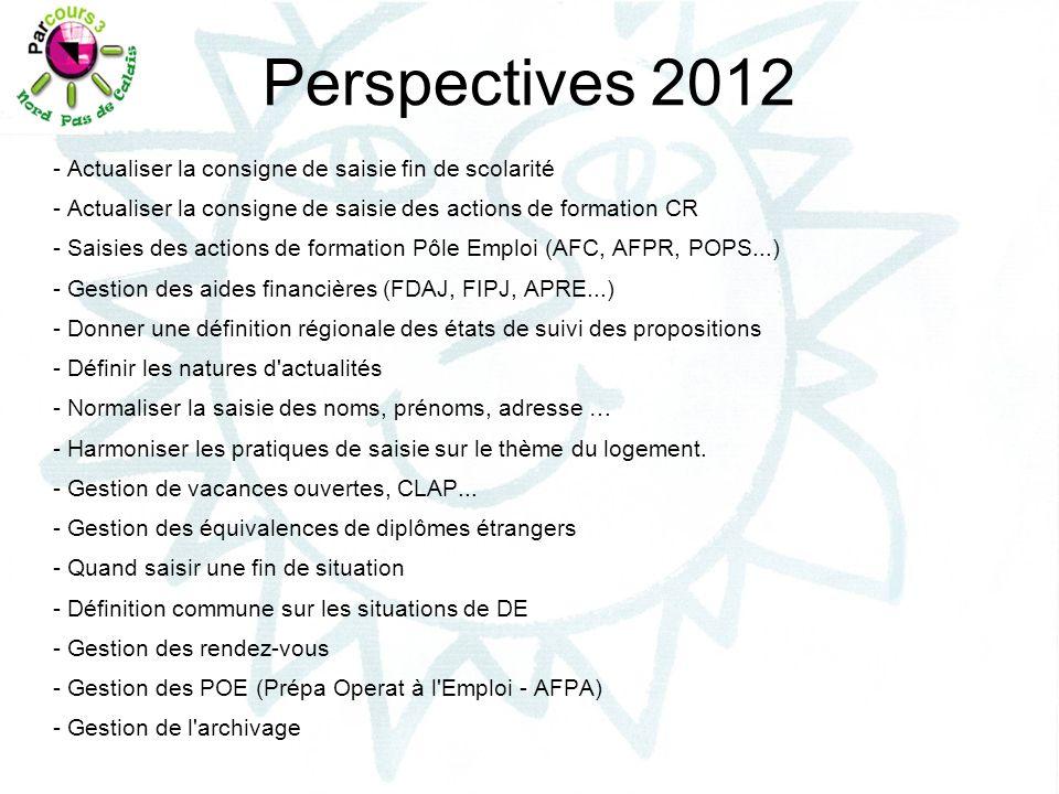 Perspectives 2012 - Actualiser la consigne de saisie fin de scolarité - Actualiser la consigne de saisie des actions de formation CR - Saisies des act