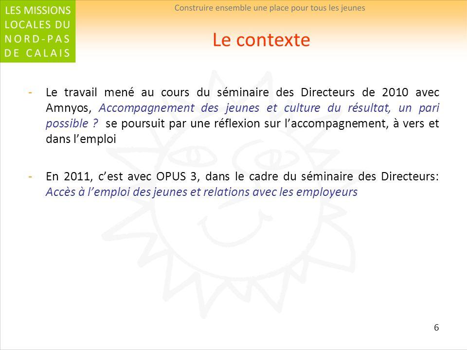 6 Le contexte Le travail mené au cours du séminaire des Directeurs de 2010 avec Amnyos, Accompagnement des jeunes et culture du résultat, un pari poss