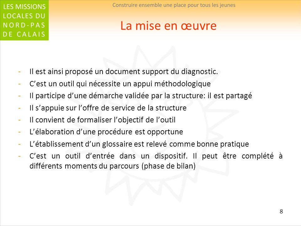 8 La mise en œuvre Il est ainsi proposé un document support du diagnostic. Cest un outil qui nécessite un appui méthodologique Il participe dune démar