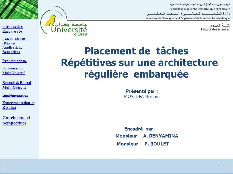 Encadré par : Monsieur A. BENYAMINA Monsieur P. BOULET Placement de tâches Répétitives sur une architecture régulière embarquée Présenté par : MOSTEFA