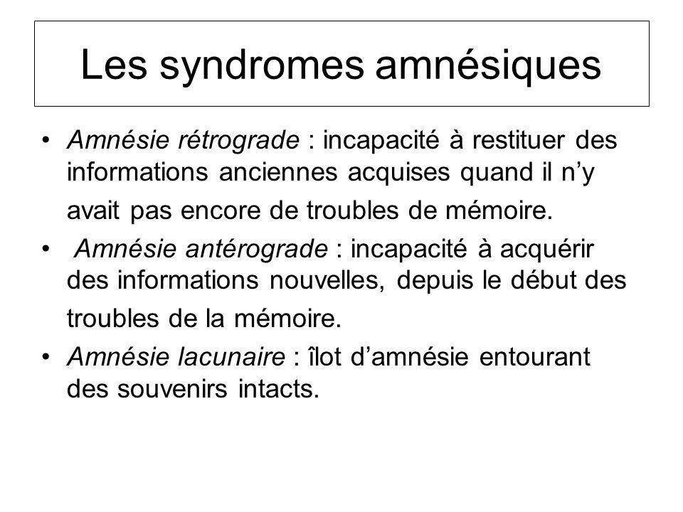 Les syndromes amnésiques Amnésie rétrograde : incapacité à restituer des informations anciennes acquises quand il ny avait pas encore de troubles de m