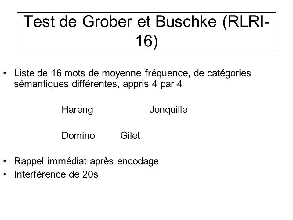 Test de Grober et Buschke (RLRI- 16) Liste de 16 mots de moyenne fréquence, de catégories sémantiques différentes, appris 4 par 4 HarengJonquille Domi