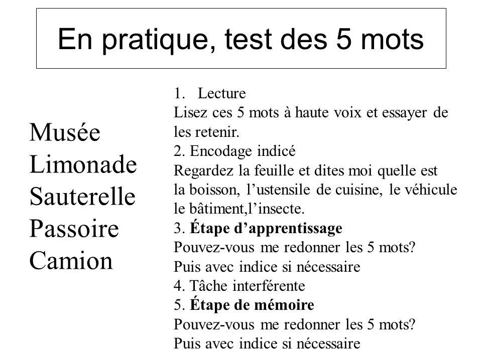 En pratique, test des 5 mots Musée Limonade Sauterelle Passoire Camion 1.Lecture Lisez ces 5 mots à haute voix et essayer de les retenir. 2. Encodage