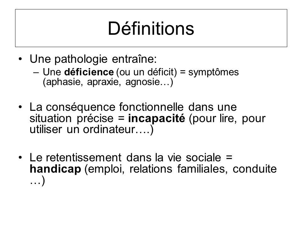 Définitions Une pathologie entraîne: –Une déficience (ou un déficit) = symptômes (aphasie, apraxie, agnosie…) La conséquence fonctionnelle dans une si