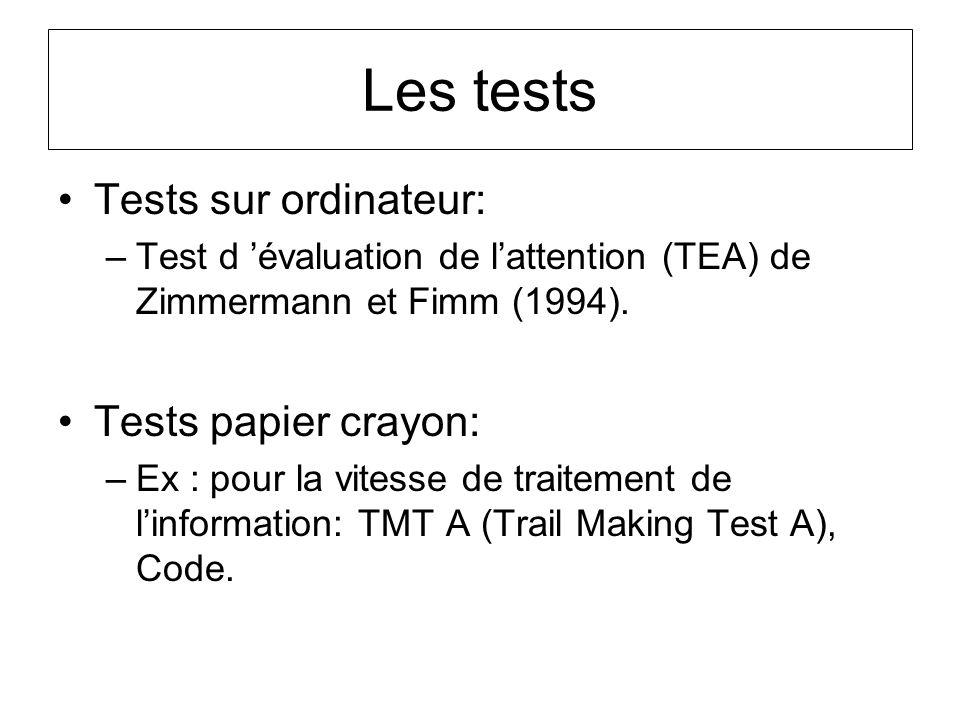 Les tests Tests sur ordinateur: –Test d évaluation de lattention (TEA) de Zimmermann et Fimm (1994). Tests papier crayon: –Ex : pour la vitesse de tra