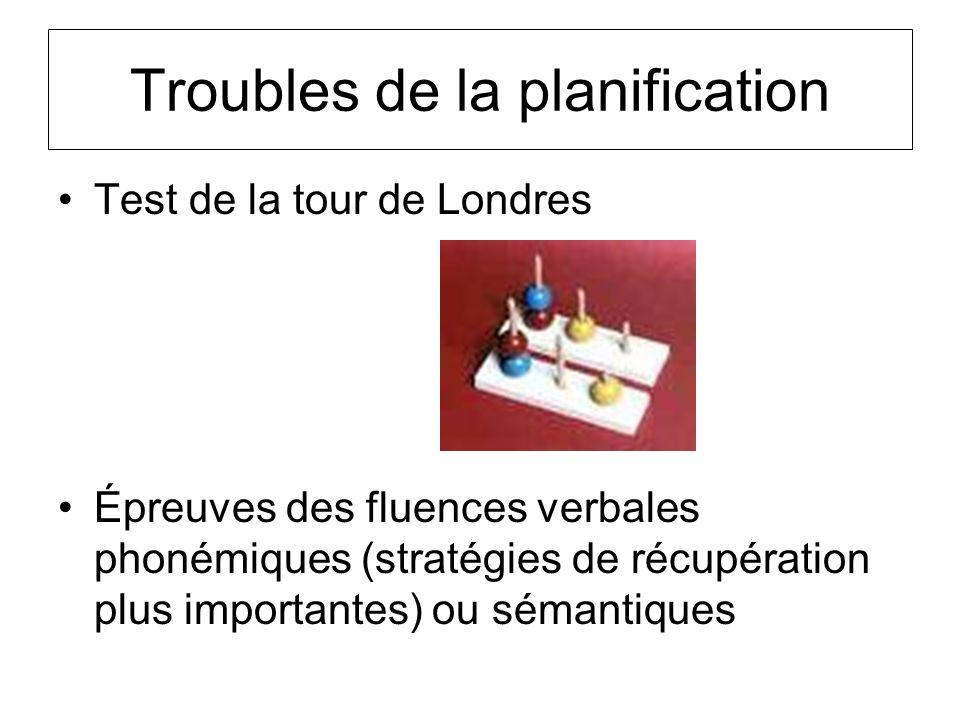 Troubles de la planification Test de la tour de Londres Épreuves des fluences verbales phonémiques (stratégies de récupération plus importantes) ou sé