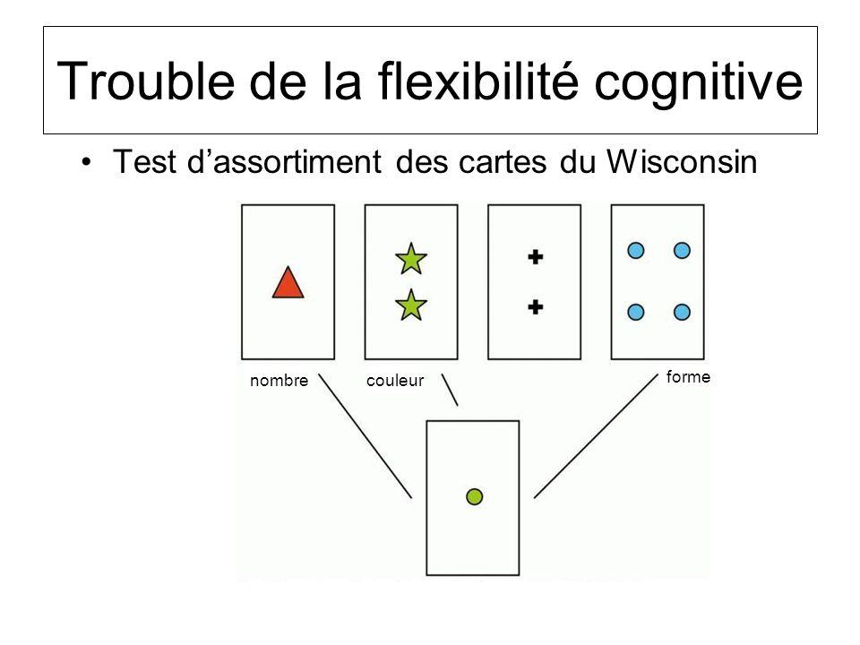 Trouble de la flexibilité cognitive Test dassortiment des cartes du Wisconsin couleur forme nombre