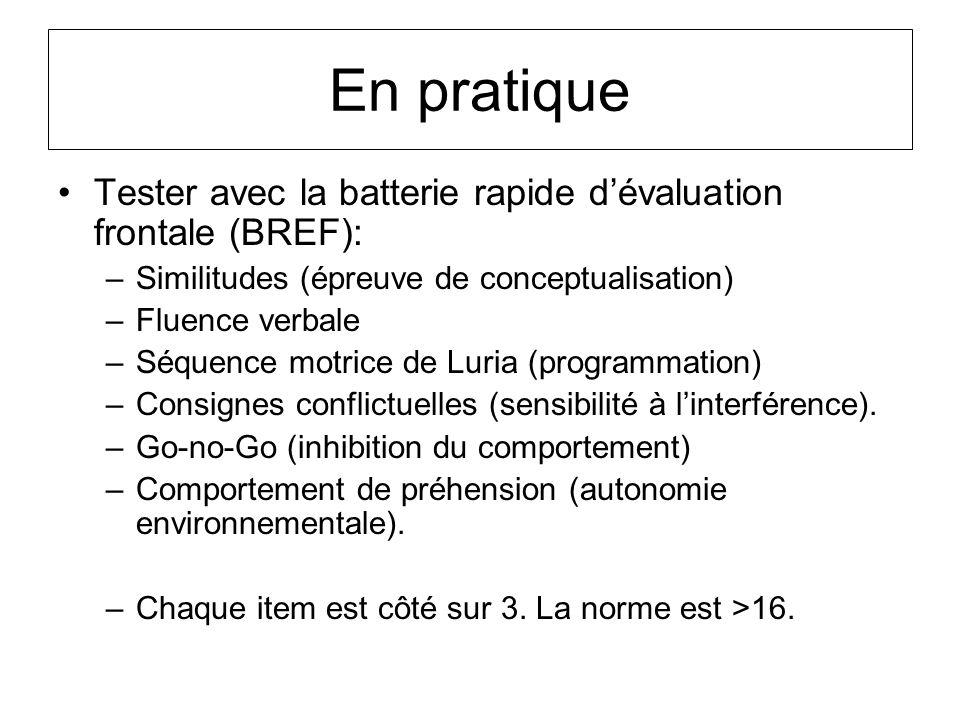 En pratique Tester avec la batterie rapide dévaluation frontale (BREF): –Similitudes (épreuve de conceptualisation) –Fluence verbale –Séquence motrice