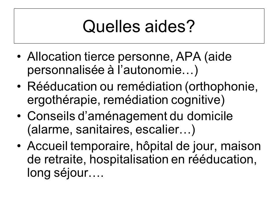 Quelles aides? Allocation tierce personne, APA (aide personnalisée à lautonomie…) Rééducation ou remédiation (orthophonie, ergothérapie, remédiation c