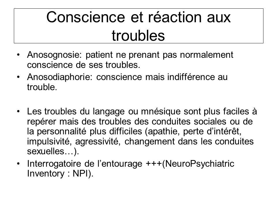 Conscience et réaction aux troubles Anosognosie: patient ne prenant pas normalement conscience de ses troubles. Anosodiaphorie: conscience mais indiff