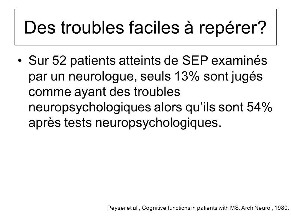 Des troubles faciles à repérer? Sur 52 patients atteints de SEP examinés par un neurologue, seuls 13% sont jugés comme ayant des troubles neuropsychol