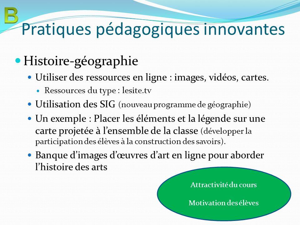 Pratiques pédagogiques innovantes Histoire-géographie Utiliser des ressources en ligne : images, vidéos, cartes. Ressources du type : lesite.tv Utilis