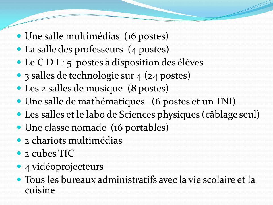 La situation matérielle actuelle Une salle multimédias (16 postes) La salle des professeurs (4 postes) Le C D I : 5 postes à disposition des élèves 3