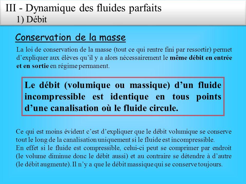 III - Dynamique des fluides parfaits 1) Débit Conservation de la masse La loi de conservation de la masse (tout ce qui rentre fini par ressortir) permet dexpliquer aux élèves quil y a alors nécessairement le même débit en entrée et en sortie en régime permanent.
