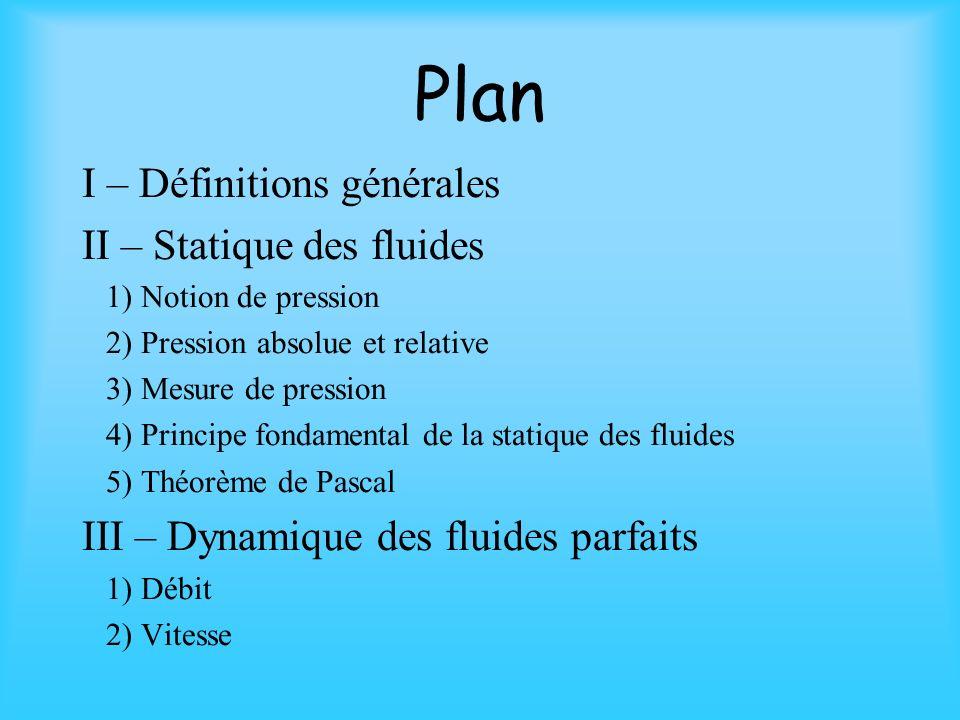 Plan I – Définitions générales II – Statique des fluides 1) Notion de pression 2) Pression absolue et relative 3) Mesure de pression 4) Principe fondamental de la statique des fluides 5) Théorème de Pascal III – Dynamique des fluides parfaits 1) Débit 2) Vitesse