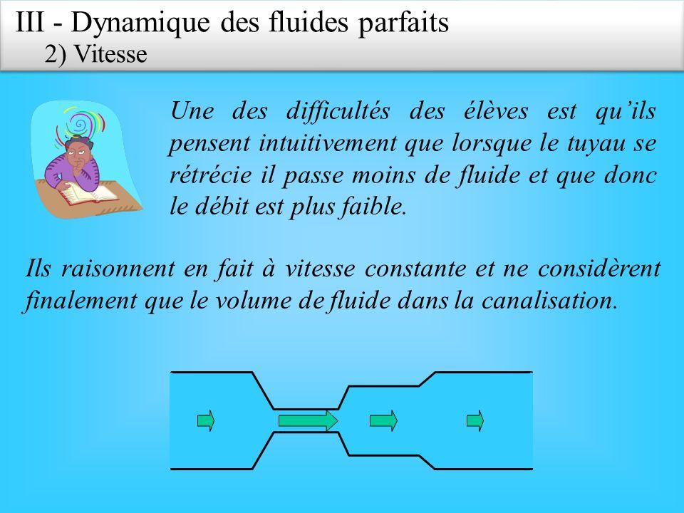III - Dynamique des fluides parfaits 2) Vitesse Une des difficultés des élèves est quils pensent intuitivement que lorsque le tuyau se rétrécie il passe moins de fluide et que donc le débit est plus faible.