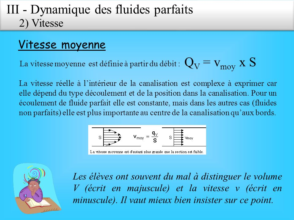 III - Dynamique des fluides parfaits 2) Vitesse Vitesse moyenne La vitesse moyenne est définie à partir du débit : Q V = v moy x S La vitesse réelle à lintérieur de la canalisation est complexe à exprimer car elle dépend du type découlement et de la position dans la canalisation.