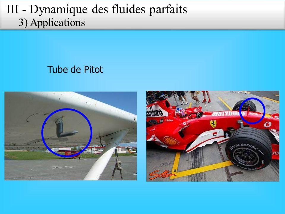 Tube de Pitot III - Dynamique des fluides parfaits 3) Applications
