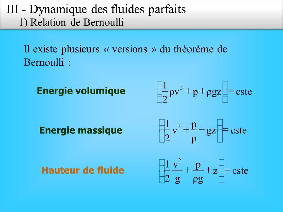 III - Dynamique des fluides parfaits 2) Effet Venturi Dans le cas où laltitude est la même ou que les différences daltitude et la masse volumique du fluide sont faibles (cas des gaz), on peut négliger le terme dénergie potentielle.