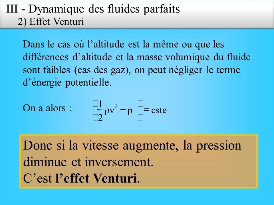 III - Dynamique des fluides parfaits 2) Effet Venturi Dans le cas où laltitude est la même ou que les différences daltitude et la masse volumique du f
