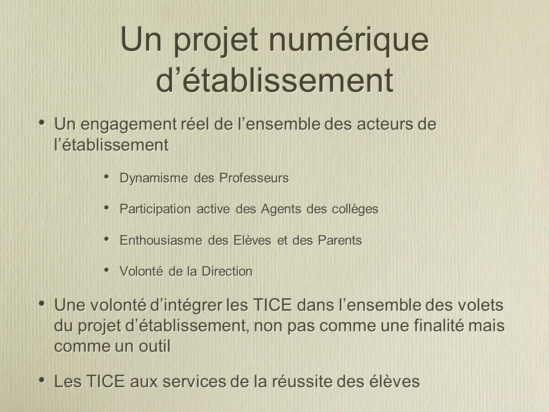 Un projet numérique détablissement Un engagement réel de lensemble des acteurs de létablissement Dynamisme des Professeurs Participation active des Ag
