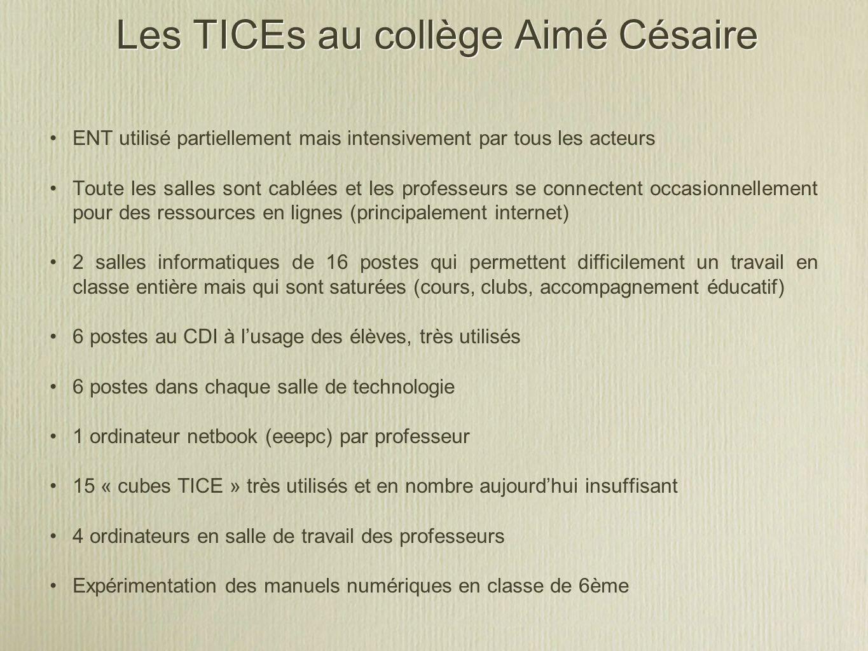 Les TICEs au collège Aimé Césaire ENT utilisé partiellement mais intensivement par tous les acteurs Toute les salles sont cablées et les professeurs s