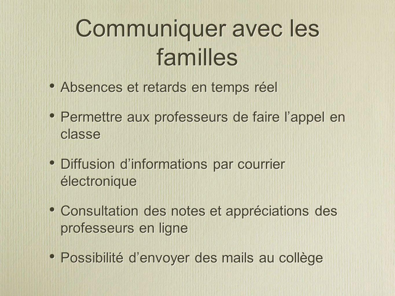 Communiquer avec les familles Absences et retards en temps réel Permettre aux professeurs de faire lappel en classe Diffusion dinformations par courri