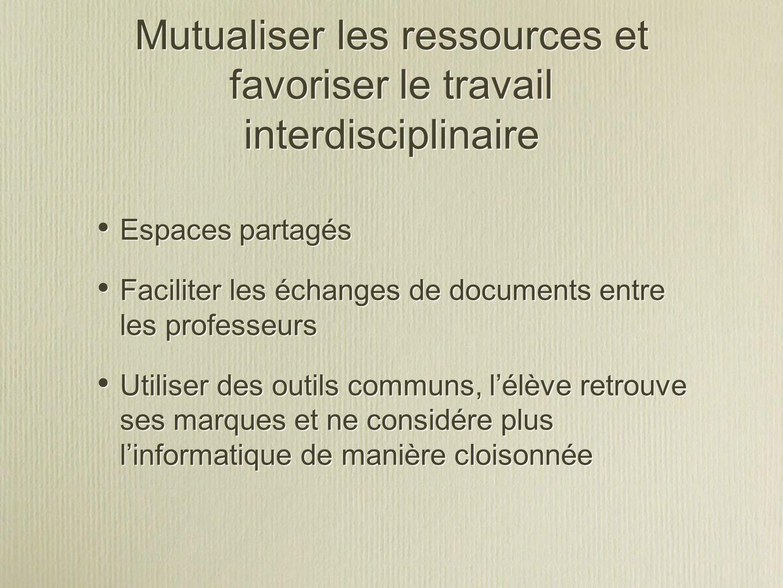 Mutualiser les ressources et favoriser le travail interdisciplinaire Espaces partagés Faciliter les échanges de documents entre les professeurs Utilis