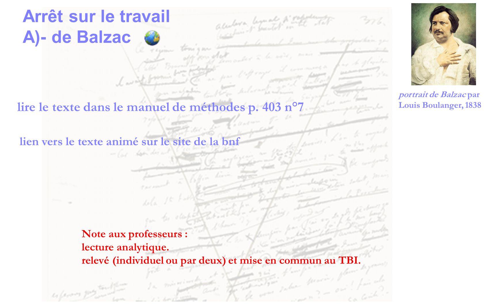 lire le texte dans le manuel de méthodes p. 403 n°7 lien vers le texte animé sur le site de la bnf Arrêt sur le travail A)- de Balzac Note aux profess