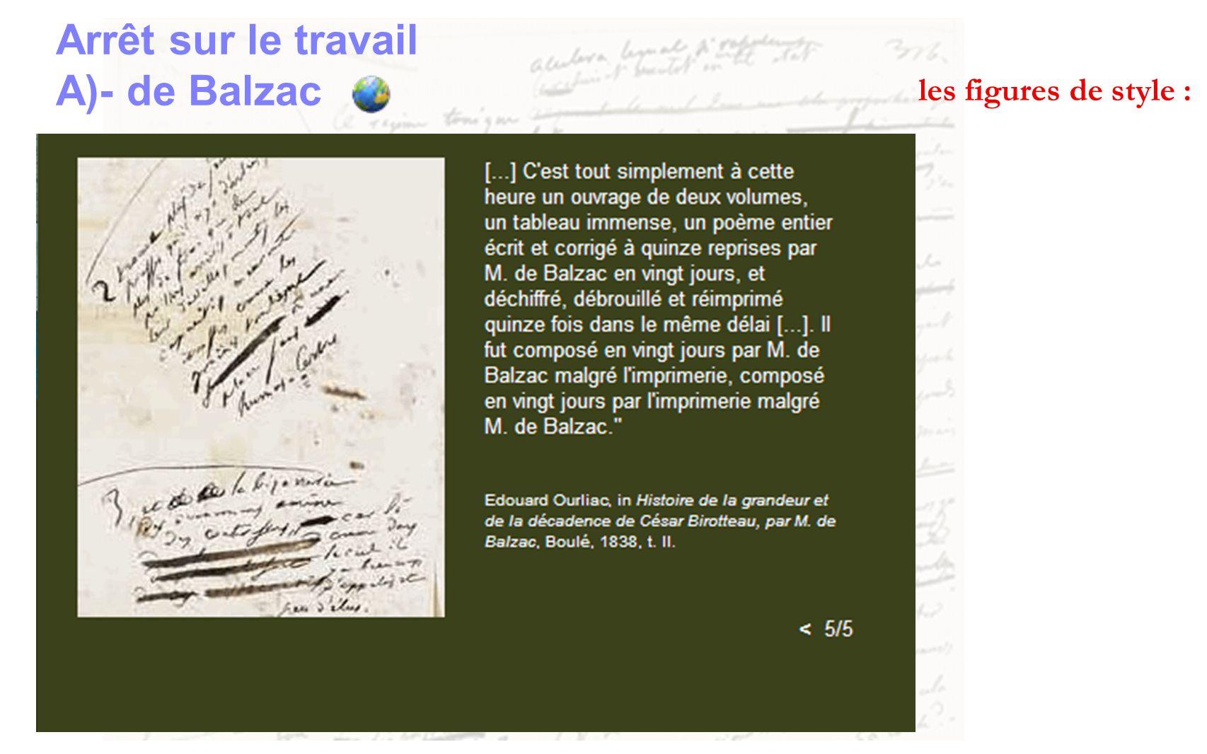Arrêt sur le travail A)- de Balzac les figures de style :