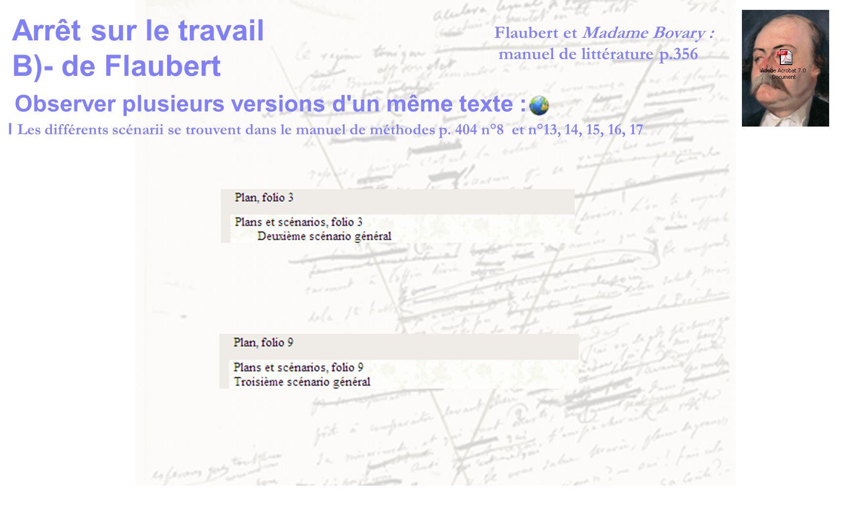 Observer plusieurs versions d'un même texte : l Les différents scénarii se trouvent dans le manuel de méthodes p. 404 n°8 et n°13, 14, 15, 16, 17 Arrê