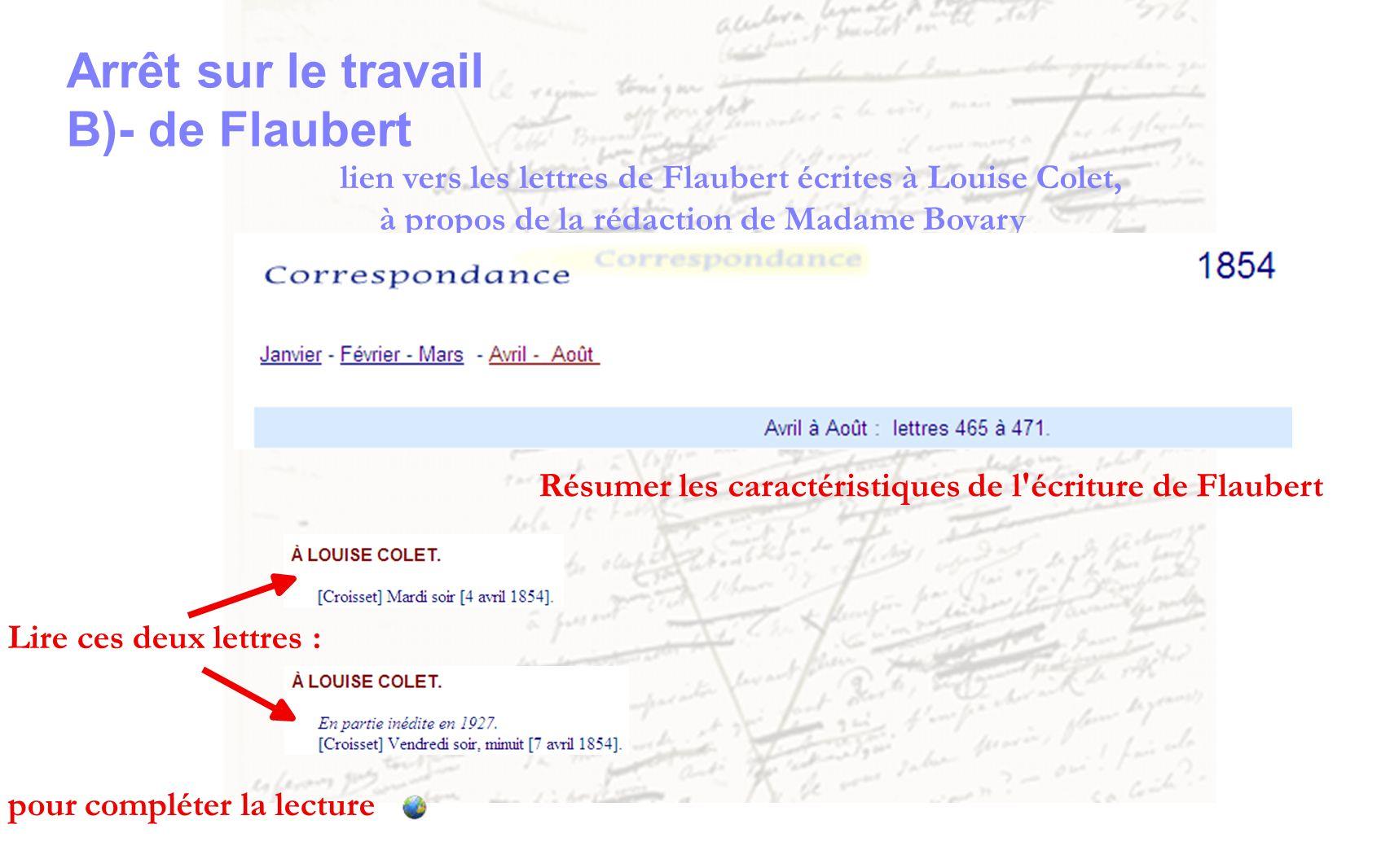 Arrêt sur le travail B)- de Flaubert lien vers les lettres de Flaubert écrites à Louise Colet, à propos de la rédaction de Madame Bovary Lire ces deux