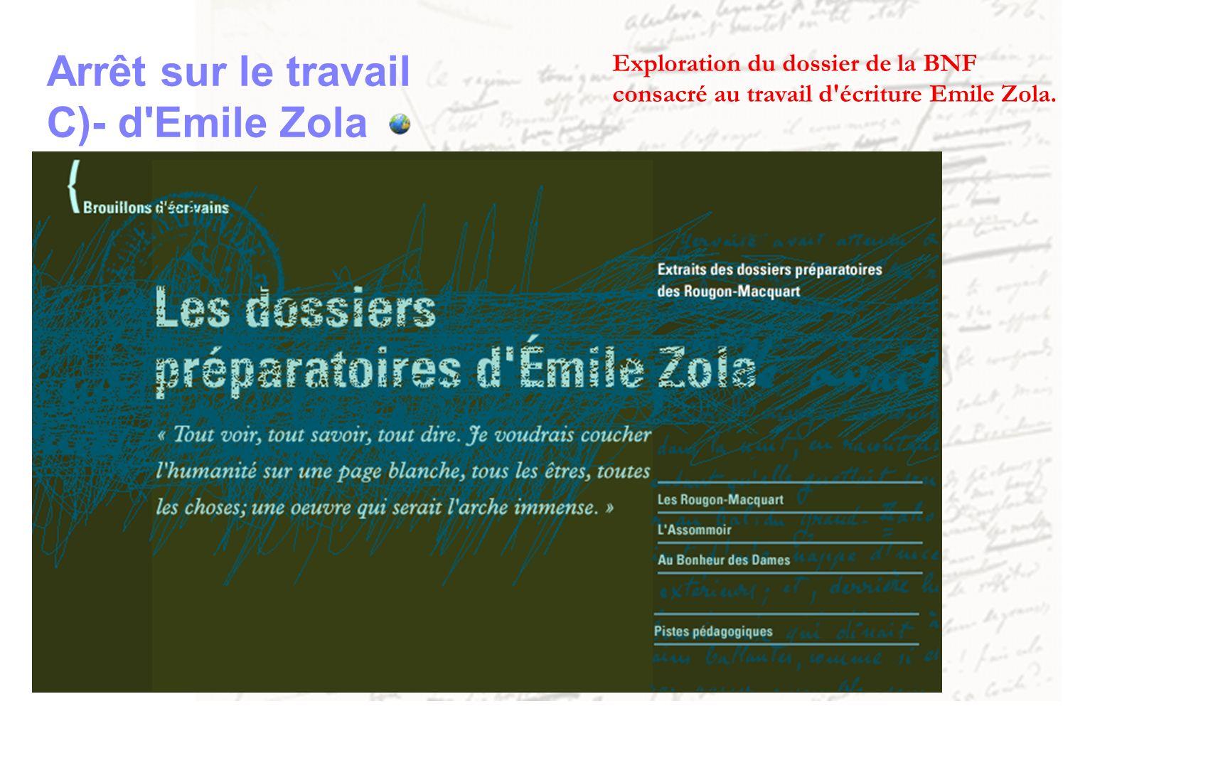 Arrêt sur le travail C)- d'Emile Zola Exploration du dossier de la BNF consacré au travail d'écriture Emile Zola.