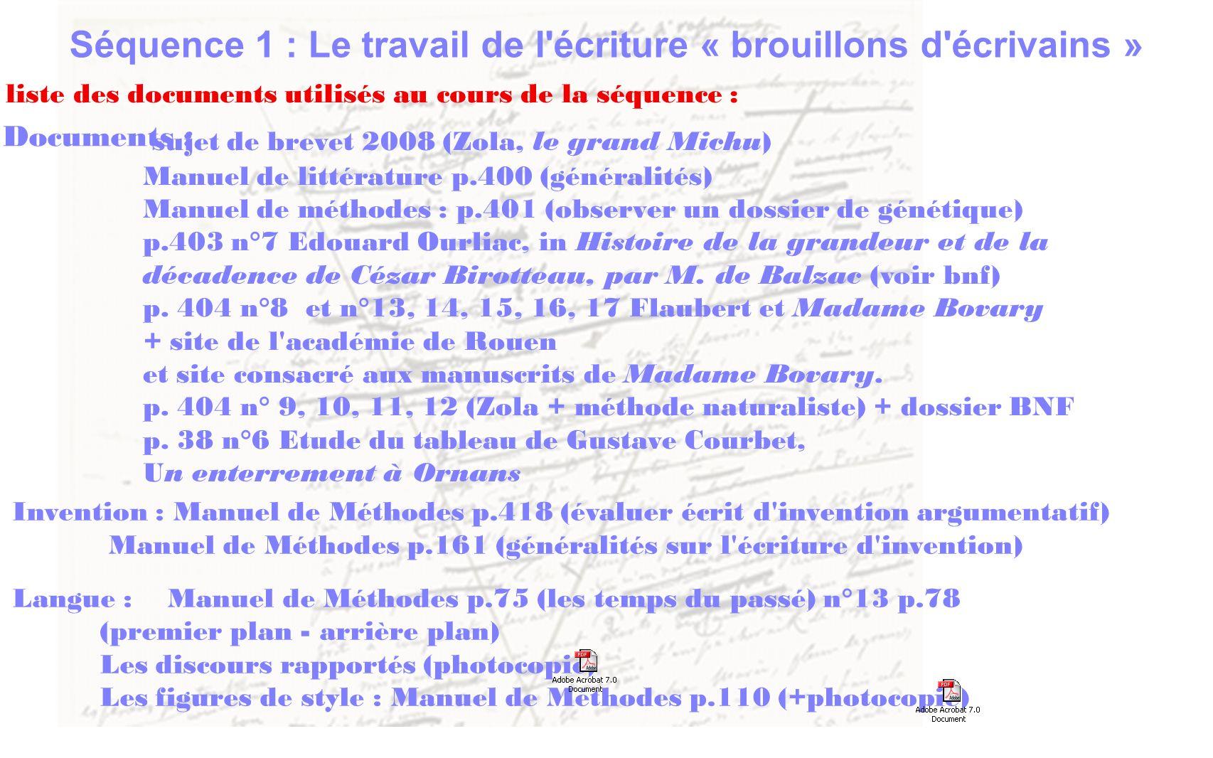 Invention : Manuel de Méthodes p.418 (évaluer écrit d'invention argumentatif) Manuel de Méthodes p.161 (généralités sur l'écriture d'invention) Langue