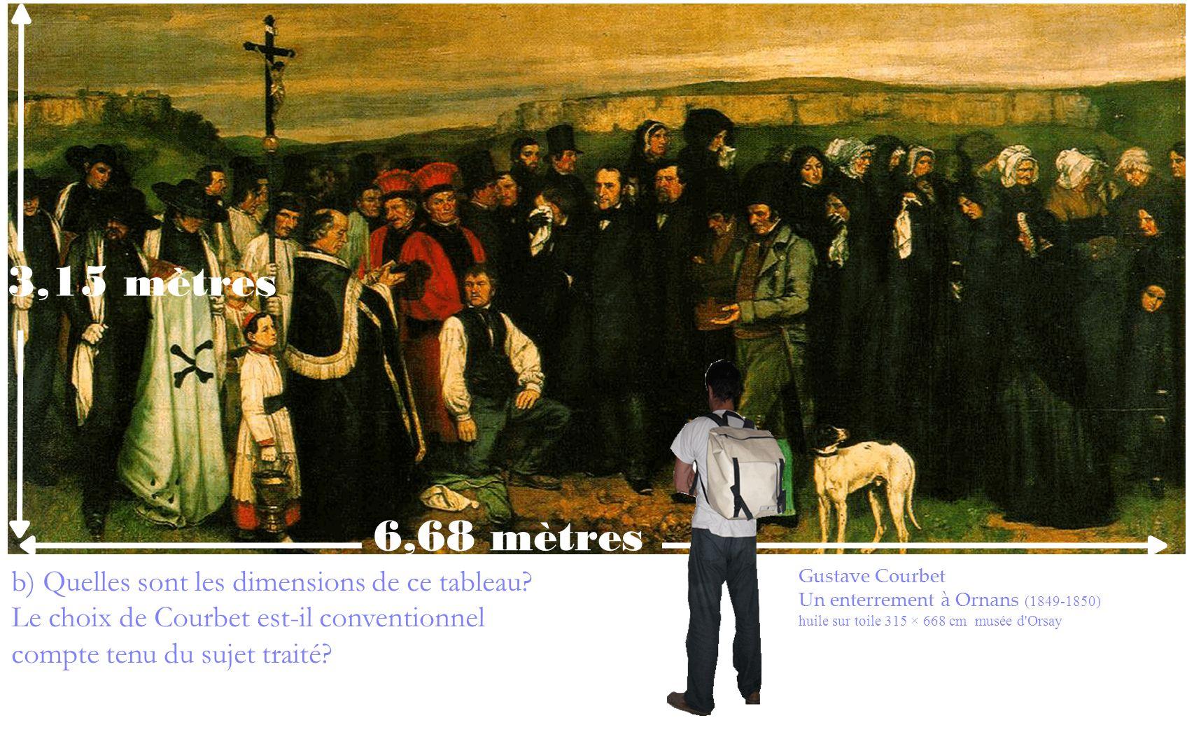 b) Quelles sont les dimensions de ce tableau? Le choix de Courbet est-il conventionnel compte tenu du sujet traité? Gustave Courbet Un enterrement à O
