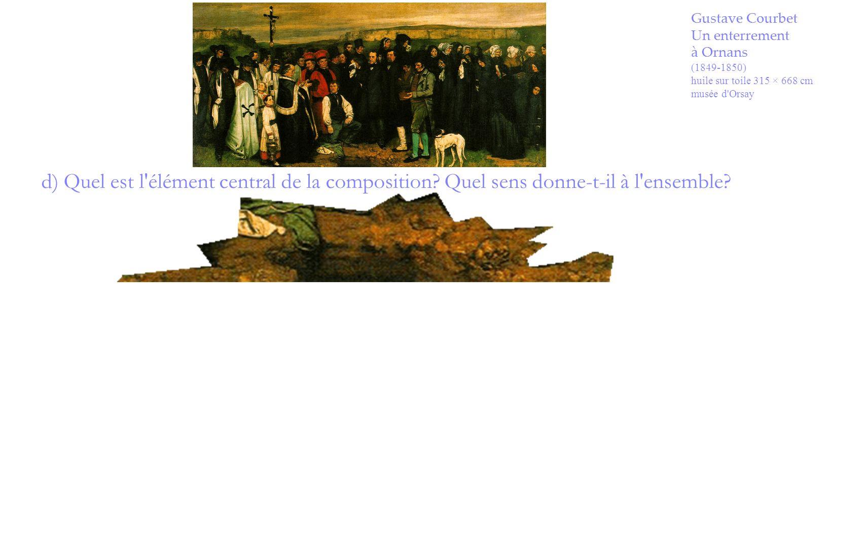 Gustave Courbet Un enterrement à Ornans (1849-1850) huile sur toile 315 × 668 cm musée d'Orsay d) Quel est l'élément central de la composition? Quel s