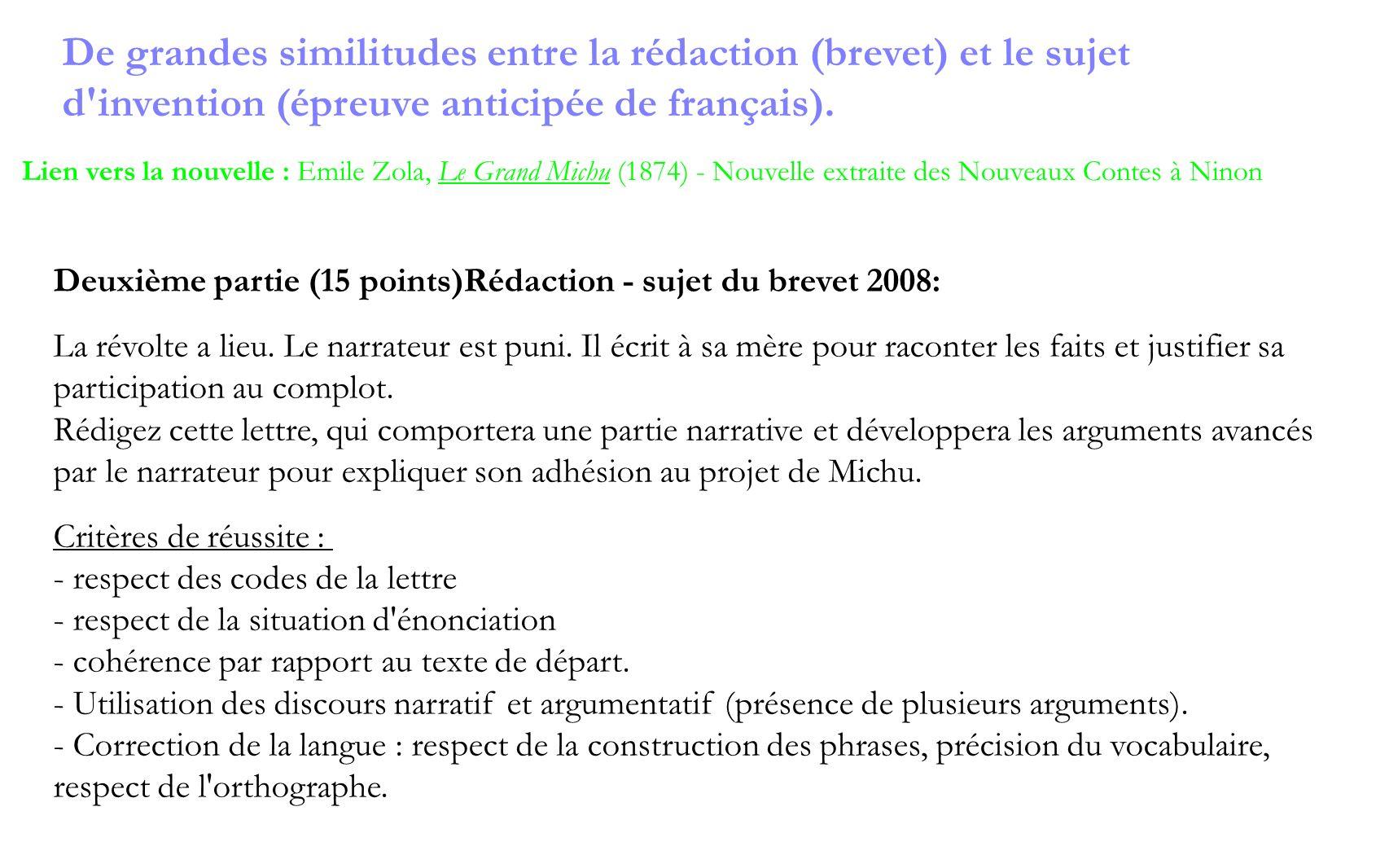 Deuxième partie (15 points)Rédaction - sujet du brevet 2008: La révolte a lieu. Le narrateur est puni. Il écrit à sa mère pour raconter les faits et j