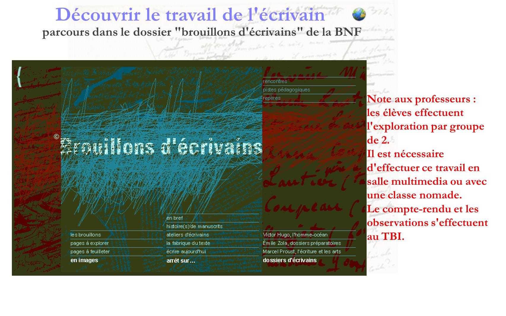 Découvrir le travail de l écrivain parcours dans le dossier brouillons d écrivains de la BNF 1.