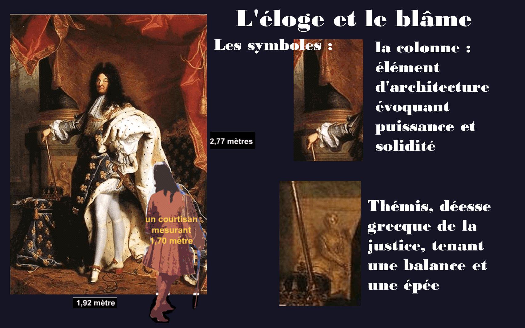 L'éloge et le blâme Les symboles : la colonne : élément d'architecture évoquant puissance et solidité Thémis, déesse grecque de la justice, tenant une