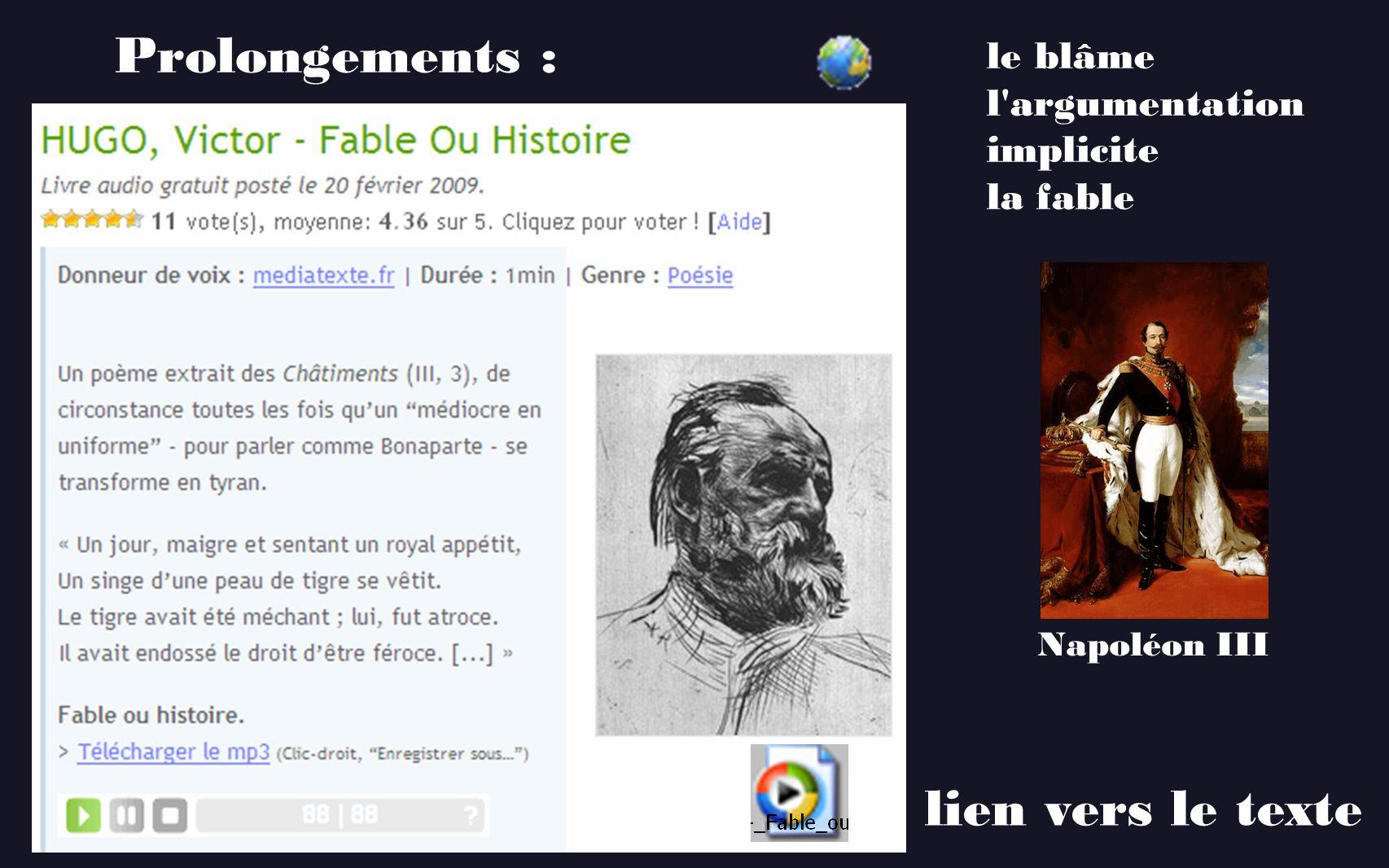 le blâme l'argumentation implicite la fable Napoléon III lien vers le texte Prolongements :
