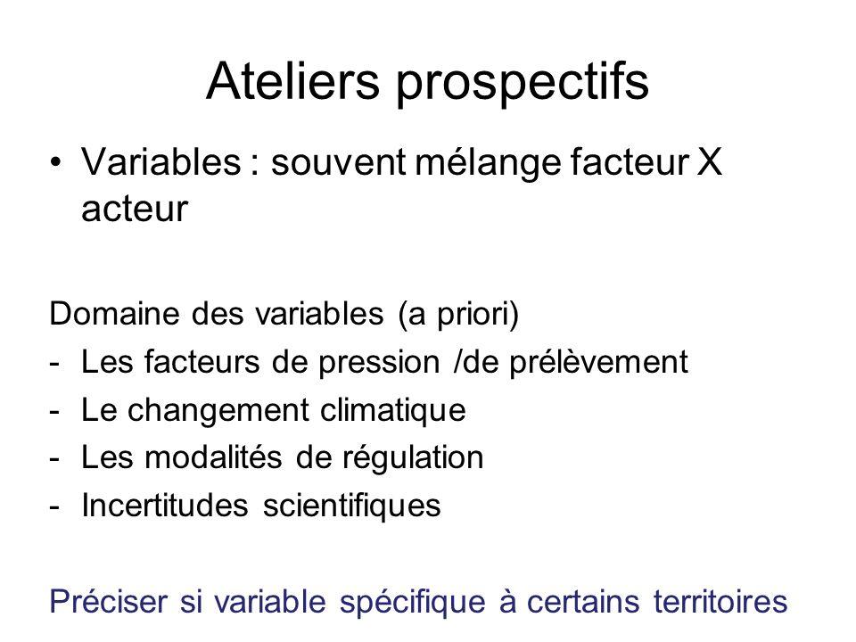 Ateliers prospectifs Variables : souvent mélange facteur X acteur Domaine des variables (a priori) -Les facteurs de pression /de prélèvement -Le changement climatique -Les modalités de régulation -Incertitudes scientifiques Préciser si variable spécifique à certains territoires