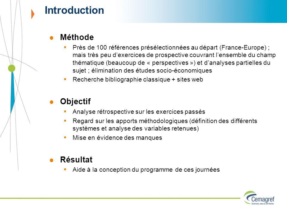 Introduction Méthode Près de 100 références présélectionnées au départ (France-Europe) ; mais très peu dexercices de prospective couvrant lensemble du