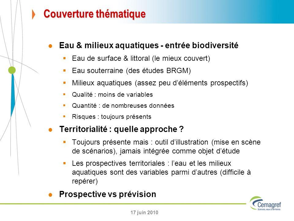 Couverture thématique Eau & milieux aquatiques - entrée biodiversité Eau de surface & littoral (le mieux couvert) Eau souterraine (des études BRGM) Mi